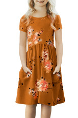 Orange Short Sleeve Pocketed Children's Floral Dress
