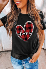 Plaid Reş Splicing Dil Tee
