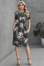 Koyu Gri Kısa Kollu Cepli İpli Günlük Çiçekli Elbise