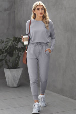 Gray Star Print Two-Piece Set Sports Wear