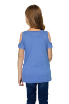 Sky Blue Cold Shoulder Twist Girls Short Sleeves Top