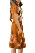 Narancssárga rövid ujjú, zsebre vágott gyermek virágos ruha