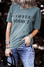 COFFEE ADDICT Print Distressed Tee