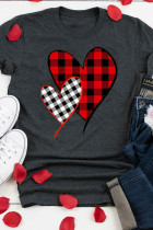 Gray Plaid Splicing Heart Tee