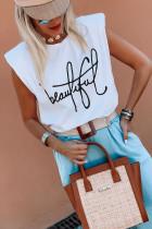 Camiseta sin mangas blanca con estampado de letras y hombros acolchados