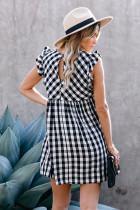 Zwarte geruite Ruffle V-hals Babydoll mini-jurk met zakjes
