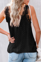 Black Eyelash V Neck Cami Tank Top