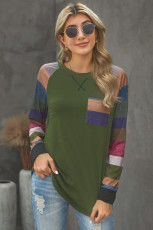 Green Color Block Striped Pocket Long Sleeve Top