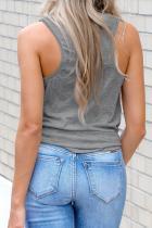 Camiseta sin mangas con espalda cruzada y cuello en V gris con bolsillo