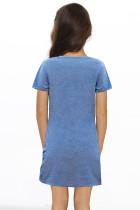 Sininen pikkutyttöjen V-aukkoinen T-paita, jossa on Twist Hem -mekko