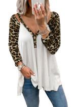 Blusa de manga larga con cuello en V de leopardo