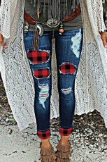 Bekymrade Buffalo Plaid Cuffed Jeans