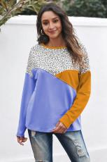 Leopard Color Block Spleißen Langarm Top