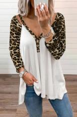 Luipaard V-hals blouse met lange mouwen