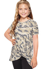 Groen Camouflage Print Twist Girls T-shirt
