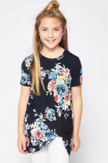 Black Printed Twist Girls Tee
