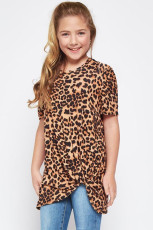Brown Leopard Print Twist Girls Tee