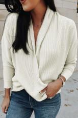 Beige drape strikket genser
