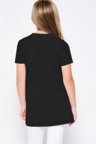 Sort T-shirt med piger med buet forneden