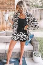 Black Tank Top dan Leopard Lace Trim Shorts Loungewear Set