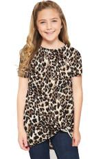 T-shirt per ragazze Twist con stampa leopardata