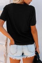 ラブレタープリントブラックTシャツ