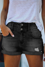 Grå manschett High Rise Denim Shorts