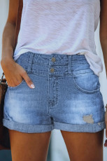 Sky Blue Cuffed hoge taille denim shorts