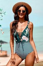 Pakaian Renang One-piece Bermotif Bunga dan Bergaris Hijau