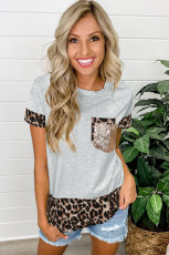 Šedé flitry s akcentem Leopard Splicing Tee