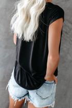 블랙 컷 아웃 티셔츠
