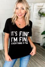 IT'S FINE I'M FINE EVERYTHING ISFINEブラックVネックTシャツ
