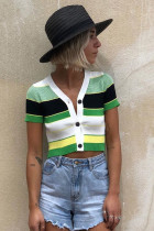 Yeşil Colorblock Örme Crop Top