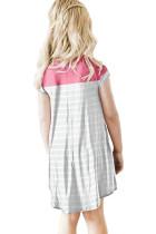 로즈 컬러 블록 패치 워크 스트라이프 여아 드레스