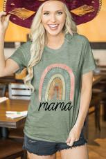 그린 마마 레터 그래픽 프린트 티셔츠