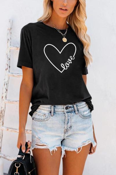 เสื้อยืดพิมพ์ลาย Heart Shape