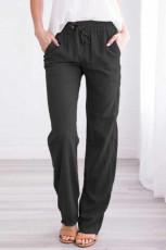 Черные брюки с эластичным поясом и кулиской, длинные прямые брюки