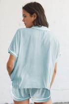 Sky Blue Buttoned Kurzarm Shirt und Shorts Pyjama Set