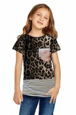 Leopard Print Splicing Stripes T-paita
