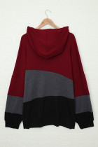 Rode Lucky Break-colourblock plus-maat hoodie