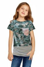 Green Camo Print Splicing Stripes T-paita