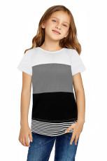 Harmaa vanhempien ja lasten Colorblock Striped -T-paita