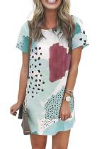 화이트 레오파드 스 플라이 싱 컬러 블록 미니 드레스