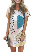 Lichtblauwe luipaard splicing colour block mini-jurk