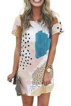 라이트 블루 레오파드 스 플라이 싱 컬러 블록 미니 드레스