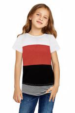 Oranssi vanhempien ja lasten Colorblock Striped -T-paita