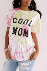 Roze COOL MOM Tie Dye T-shirt