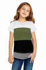 Зеленая футболка для девочек в полоску с цветными блоками для родителей и детей
