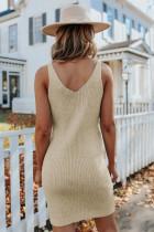 Kaki mouwloze geribbelde mini-jurk met V-hals