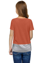 Pailletten Pocket Splicing Stripes T-shirt voor meisjes